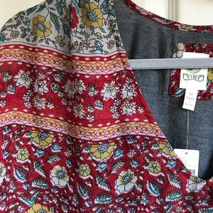 Anthropologie Tiny Calais too size 3X New red gray
